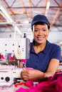 Textile factory machinist portrait of beautiful african Royalty Free Stock Images