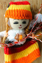 Textile handmade doll toy martisor Royalty Free Stock Images