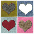 Textile heart collage Stock Photo