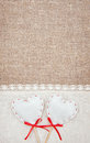 Textile hearts and linen cloth on the burlap background Stock Photo