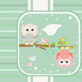 Textile owl and bird on floral branch tree. vector Stock Photos