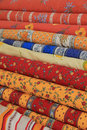 Textile from the provence on rolls traditional colors and patterns france Royalty Free Stock Image