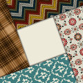 Textile template design with various materials Royalty Free Stock Images