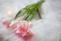 Textile wedding background with pink tulips and candle. woman`s day