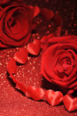 Textilehearts with roses Royalty Free Stock Photo