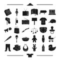 Textiles, equipment, transportation and other web icon in black style. Bottle, apron, machinery, icons in set collection
