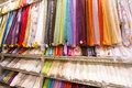Textiles for sale in fabric shop colorful Royalty Free Stock Images