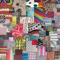 Textiles squares overlapping and fabrics Royalty Free Stock Image