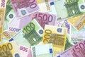 Textur för 100 200 500 euroanmärkningar Fotografering för Bildbyråer