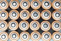 stock image of  Texture AA electric batteries AAA.