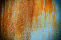 Texture and background old rusty metal with blue paint Royalty Free Stock Photo