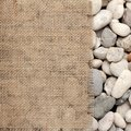 Texture of burlap fray on river rock the Royalty Free Stock Photo