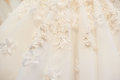 Texture of details bride wedding dress close up Royalty Free Stock Photo