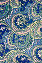 Texture fabric of retro flower and paisley Royalty Free Stock Photo
