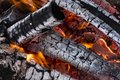 The texture of firewood in the flame Royalty Free Stock Photo