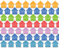 Texture formed regularly spaced houses different colors group home Stock Photos