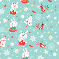 Texture funny bunnies Stock Images