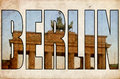 Texture grunge vintage Berlin 3d text Brandenburg gate Royalty Free Stock Photo