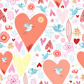 Texture of hearts and birds Stock Photo