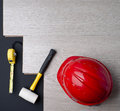 Texture laminate tape measure hammer red helmet Royalty Free Stock Image