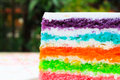 Texture layer of rainbow cake using for background Royalty Free Stock Image