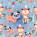 Texture in love cats and pugs winter seamless jolly pattern with lovers on blue snowy background Stock Images