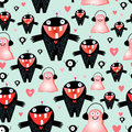 Texture love monsters seamless pattern of funny on a light background with hearts Royalty Free Stock Images