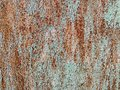 Texture of metal rusty wall brown blue background. Paint rusty textured metal background. Cracked paint, rust surface