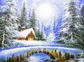 Texture oil painting, impressionism winter landscape Royalty Free Stock Photo