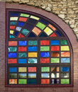 Texture of the old multi colored stained glass windows background Stock Photo