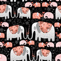 Texture of ornamental elephants seamless pattern on a black background Stock Images