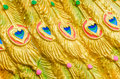 Texture of peacock wing. Royalty Free Stock Photo