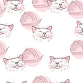 Texture pink cat and ball of threads white background Royalty Free Stock Images