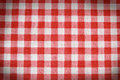 Texture of a red and white checkered picnic blanket linen tablecloth Royalty Free Stock Photos