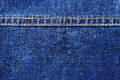 Texture with seam blue denim Stock Images