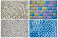 Texture series blue mosaic tiles bricks many colours bricks textured concrete Stock Photography