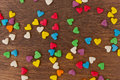 Texture of sweet colorful candy decorations in the form of heart Royalty Free Stock Photo