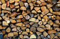 Texture of wooden logs harvested in the winter Stock Photography