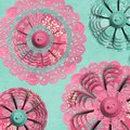 Textured abstract fabric tapestry flower doily Stock Images