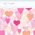 Textured fabric hearts torn horizontal seamless vector background border with hand drawn elements Royalty Free Stock Photos