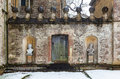 Textured historic wall with snow at Rousham House, Oxfordshire Royalty Free Stock Photo
