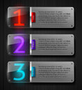 Textured metal banners with luminous numbers Royalty Free Stock Images