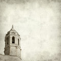 Textured old paper background with church tower Stock Photos