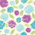 Textured painted flower seamless pattern vector background with hand drawn elements Stock Image