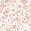 Textured pastel leaves seamless pattern background vector with various hand drawn foliage in warm colors Royalty Free Stock Image