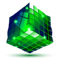 Textured plastic geometric object with flashes d pixilated tech figure Stock Photography
