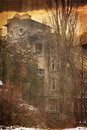 Textured spooky house abandoned in deep mystery wood Royalty Free Stock Photography