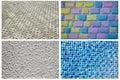 Texturserie blåa mosaiska tegelplattor tegelstenar många färgtegelstenar texturerad betong Arkivbild