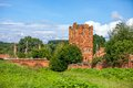 Thу old water tower the brick of nobiliary family country estate in sunny summer day Stock Photo