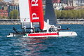 Th america s cup world series in naples crew of luna rossa catamaran italy april Royalty Free Stock Images